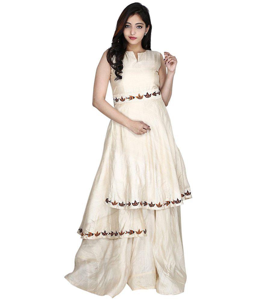 Rusicaa Silk Beige Gown