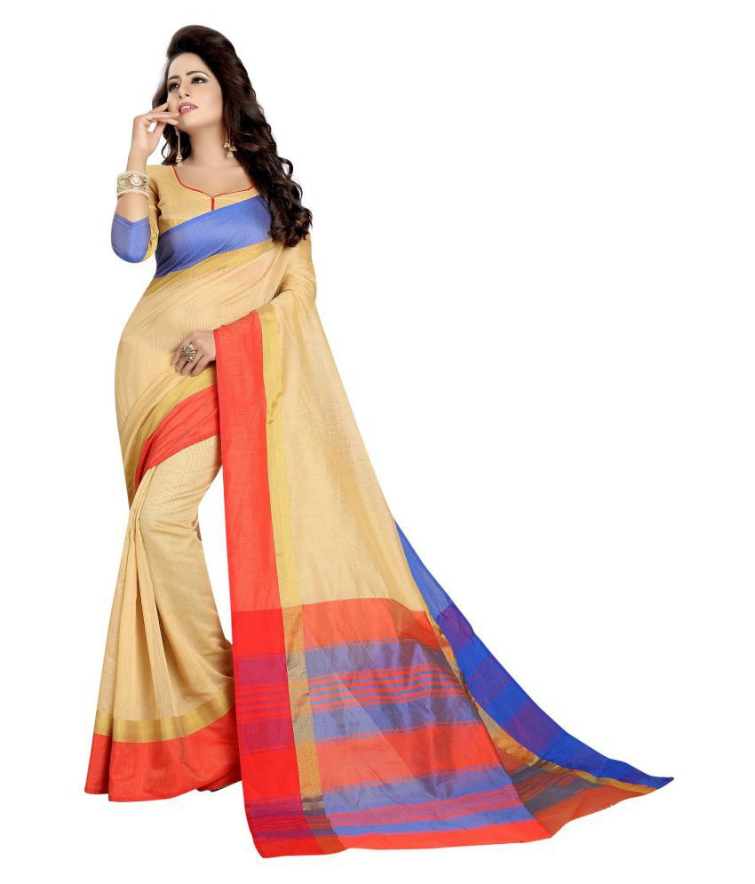 Maroosh Beige Cotton Silk Saree