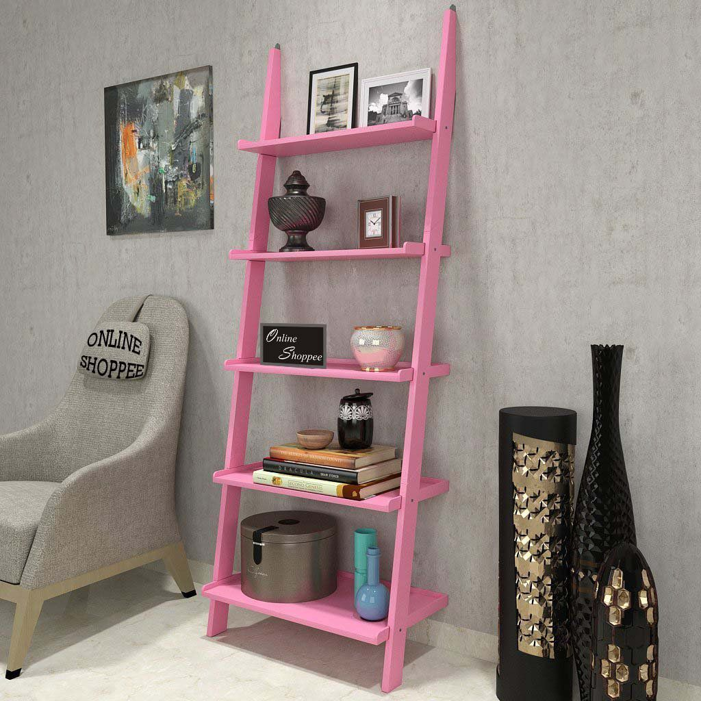 onlineshoppee leaning bookcase ladder and room organizer engineered rh snapdeal com