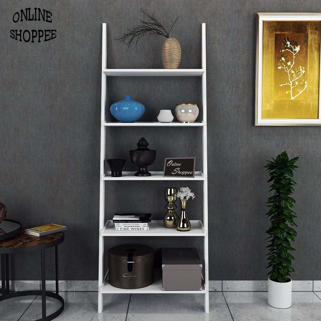 Onlineshoppee Leaning Bookcase Ladder And Room Organizer Engineered Wood Wall Shelf White