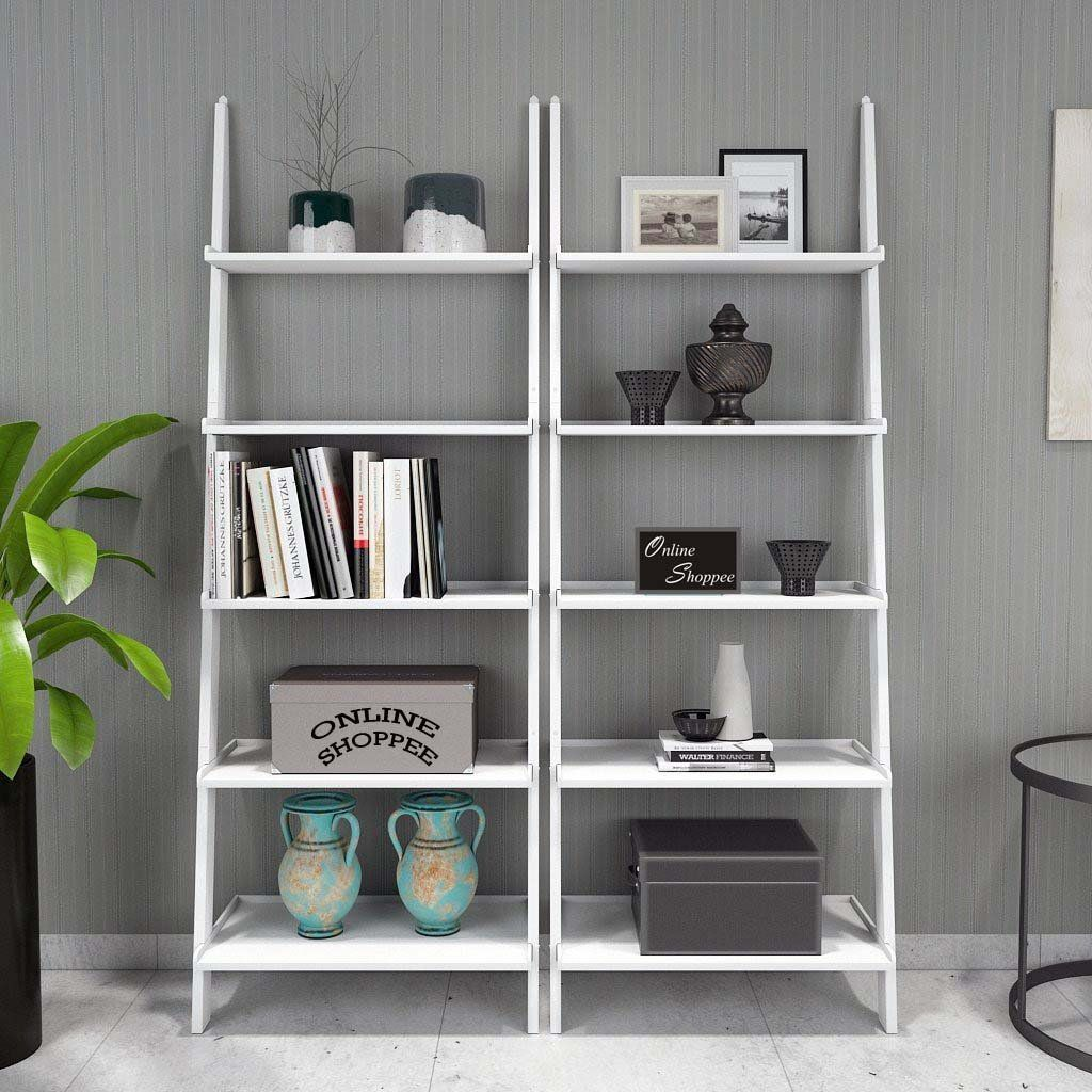 Onlineshoppee Leaning Bookcase Ladder and Room Organizer Engineered Wood Wall Shelf -Set of 2 ... & Onlineshoppee Leaning Bookcase Ladder and Room Organizer Engineered ...