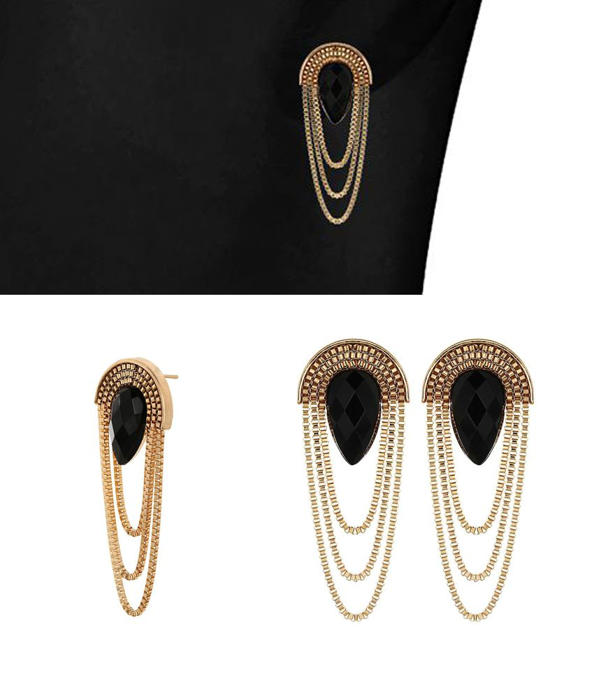 Crunchy Fashion Golden Hanging Earrings