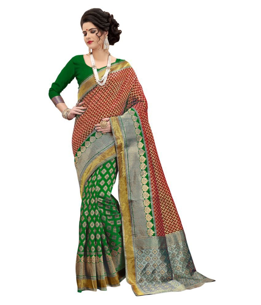 Edeal Online Red Banarasi Silk Saree