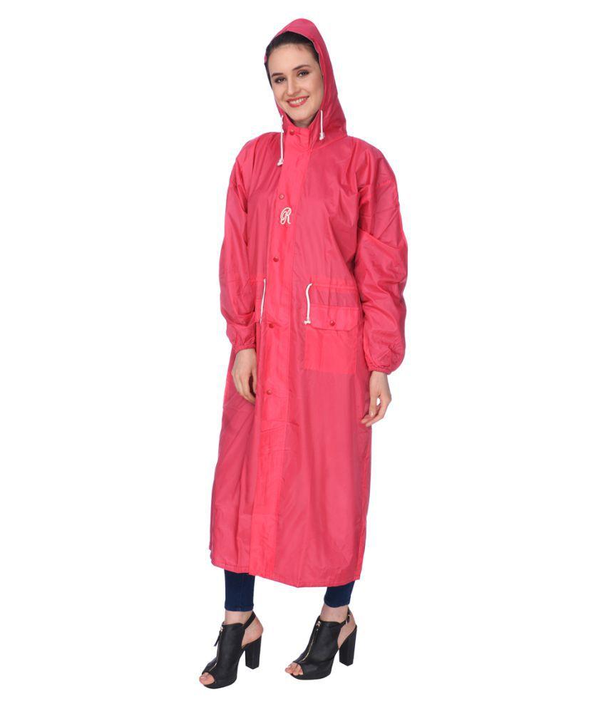 REAL Nylon Long Raincoat - Red