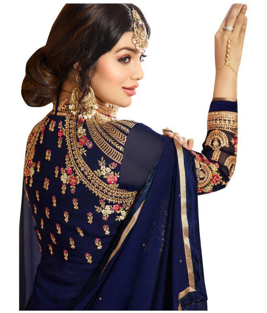 b13d10708da5 ... YOYO FASHION Blue and Brown Georgette Anarkali Semi-Stitched Suit ...