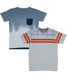 SharkTribe Boys Printed, Solid Cotton T Shirt