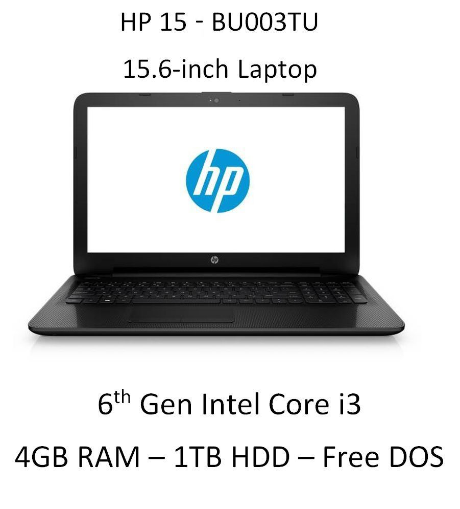 HP 15-bu003tu Laptop (6th Gen Intel Core i3- 4GB RAM- 1TB HDD- 39.62cm(15.6)- DOS) (Black) price in India.