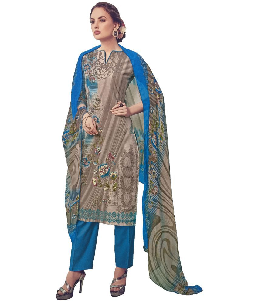 Karachi Blue Cotton Dress Material
