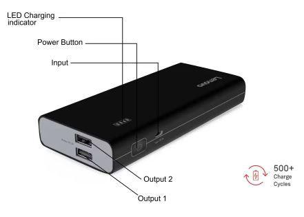 Lenovo Pa10400 10400 Mah Li Ion Power Bank Black Power Banks