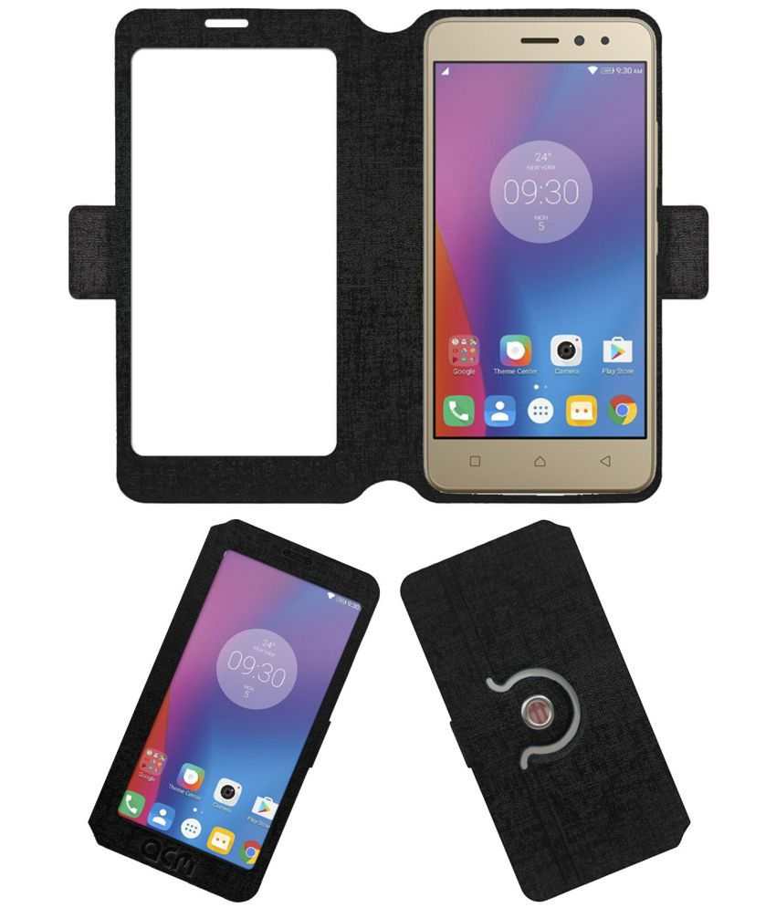 Lenovo K6 Power Flip Cover by ACM - Black
