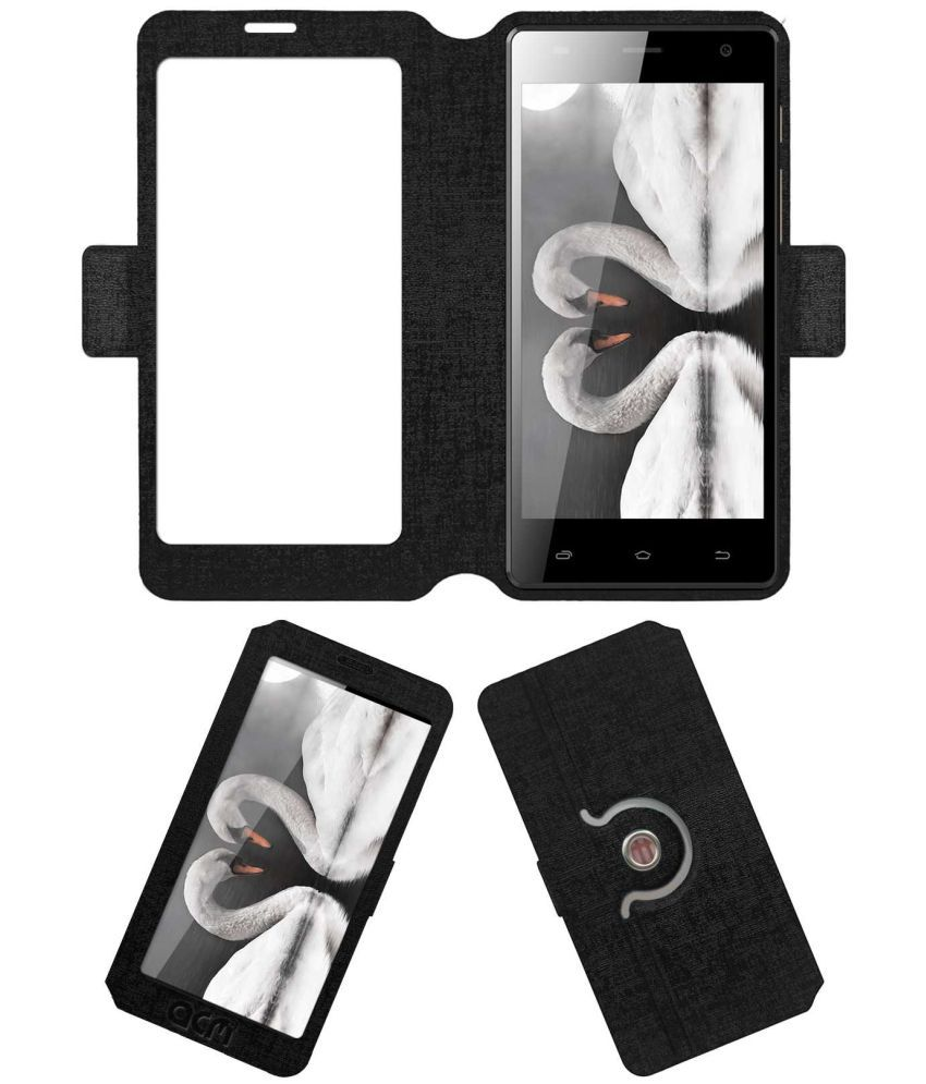 Spice Xlife 520 HD Flip Cover by ACM - Black