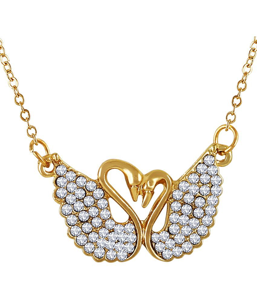 Asmitta Delightly Double Swan Shape Diamond Gold Plated White Stone Pendant For Women