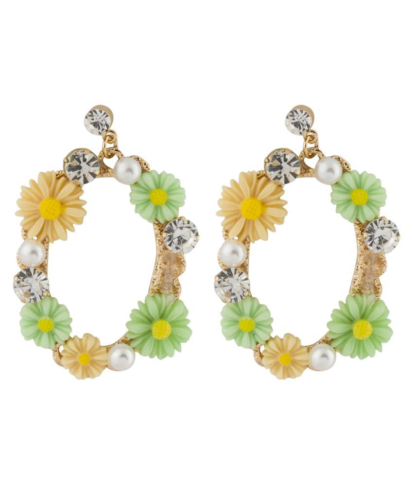 Jewels Galaxy Luxuria Limited Edition Stunning Floral Design Oval Shaped AD & Pearl Colorful Attractive Drop Earrings For Women/Girls