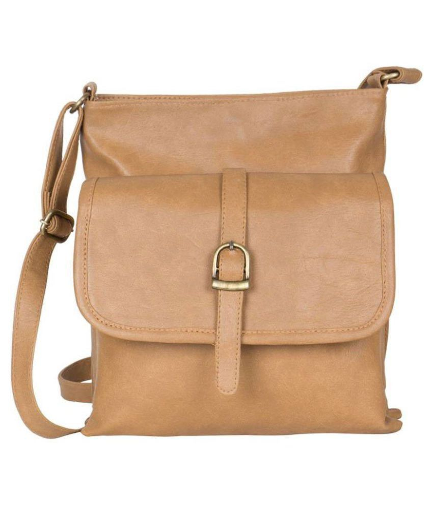 bea4115eed Ratan s Khaki Faux Leather Sling Bag - Buy Ratan s Khaki Faux Leather Sling  Bag Online at Best Prices in India on Snapdeal
