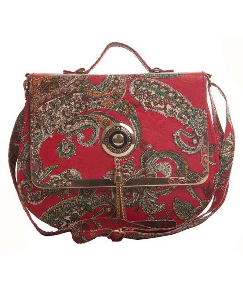 Aliado Red Faux Leather Sling Bag