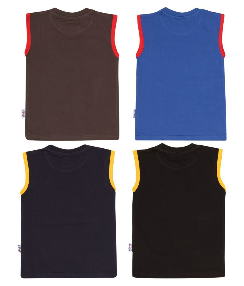 Dongli Cotton Boys Printed Sleeveless Tshirts(Pack of 4)