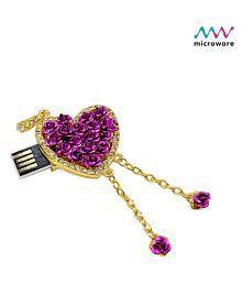 Microware Purple Metal Heart Shape 16GB USB 2.0 Fancy Pendrive Pack of 1