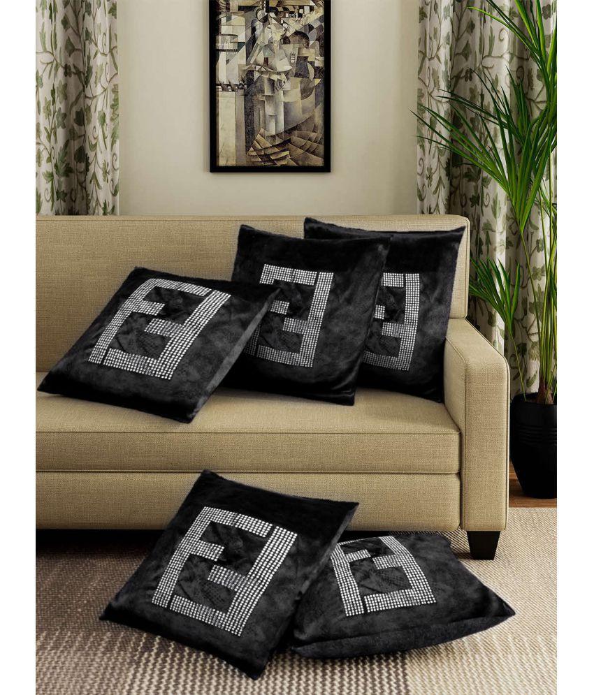 Ispace Set of 5 Velvet Cushion Covers 40X40 cm (16X16)