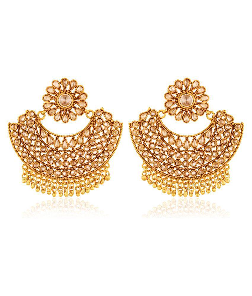 AccessHer Copper Antique Rajwadi Chadelier American Diamond Earrings