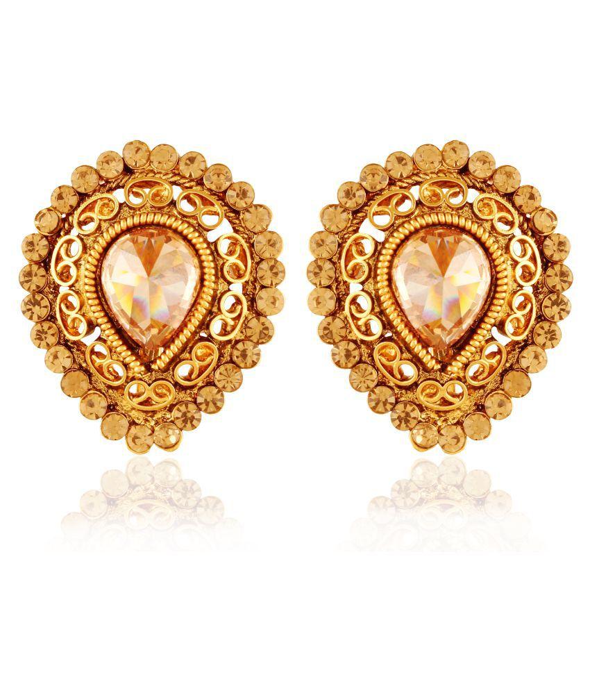 AccessHer Copper Antique Rajwadi Stud Earrings