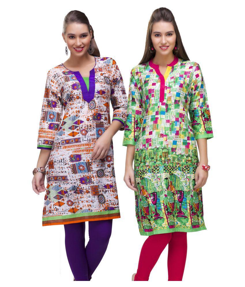 Rajnandini Multicoloured Cotton Straight Kurti