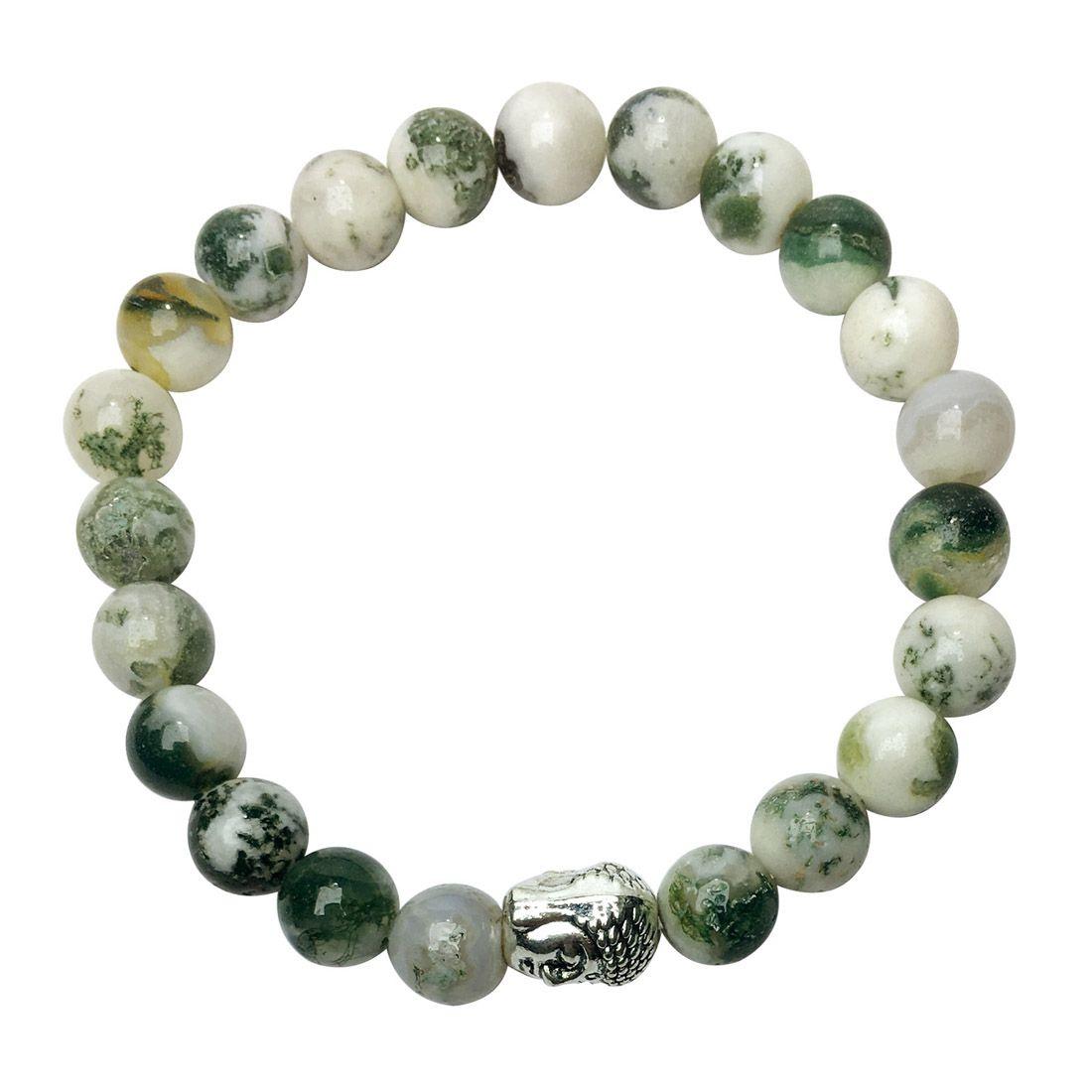 Satyamani Natural Tree Agate Buddha Bracelet