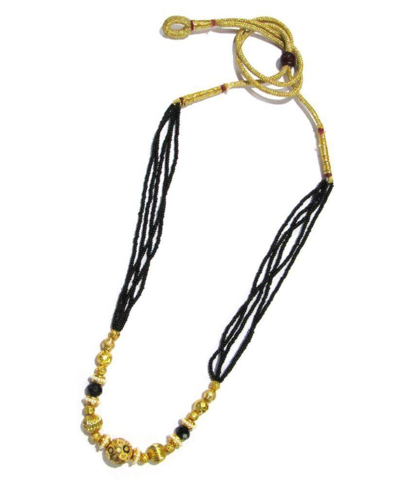 Golden Multiple Ball Black Beads Mangalsutra