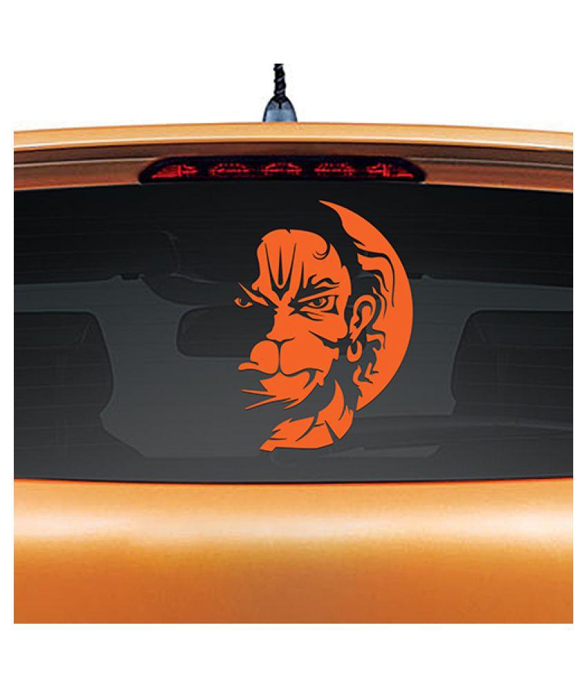 Vayuputhra Angry / Rudra Hanuman Non-Reflective Vinyl Decal Sticker for Car Rear Glass- Orange (12x8 inches)