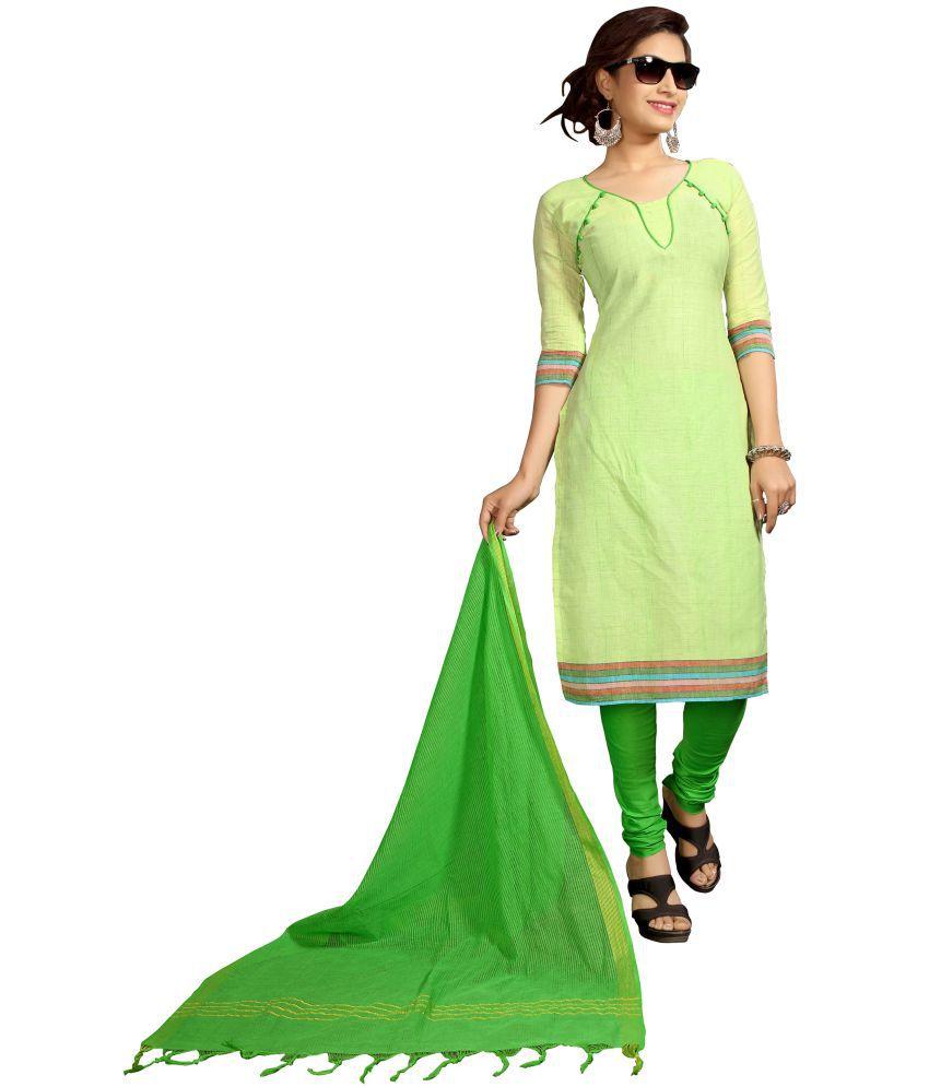Minu Green Cotton Dress Material