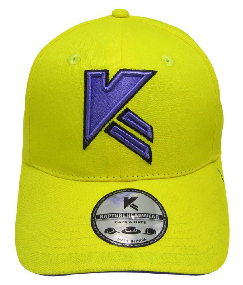 Kapture Headwear Yellow Plain Cotton Caps