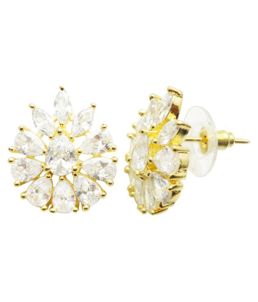 Shardajewels White American Diamond Gold Plated Earring SJE-218 for Girls & Women