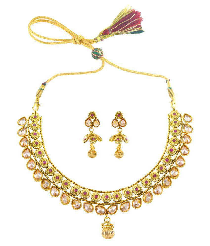 Rejewel Gold Plated Polki Necklace Set For Wedding Wear