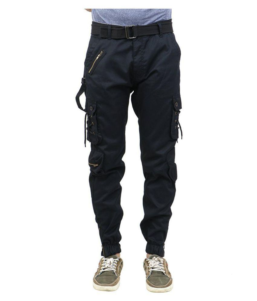 Verticals Black Regular -Fit Flat Cargos