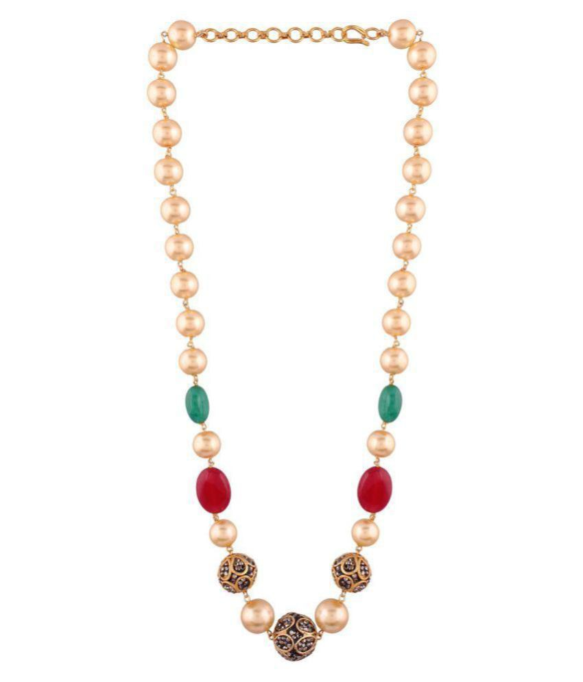 AccessHer Ethnic ruby, emrald, pearl mala necklace for women