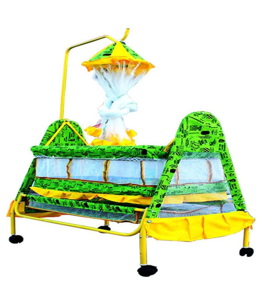 Shishu.Online Baby Cradle Bassinet With Long Mosquito Net (GREEN)J14