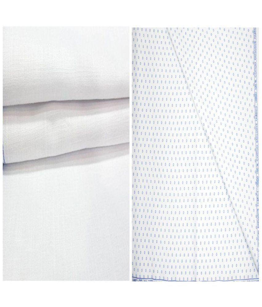 KUNDAN SULZ GWALIOR White 100 Percent Cotton Unstitched Shirts & Trousers ( 1 Pant & 1 Shirt Piece )