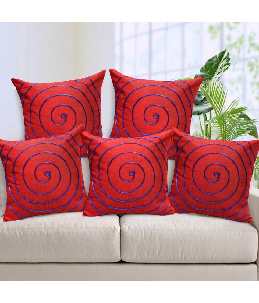 Mafatlal Set of 5 Cotton Cushion Covers 40X40 cm (16X16)