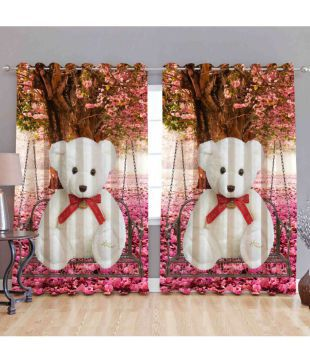 Dayal Set of 2 Door Eyelet Curtains Printed Multi Color