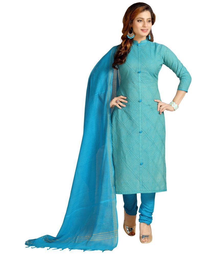 AVYUKTA Blue Cotton A-line Stitched Suit