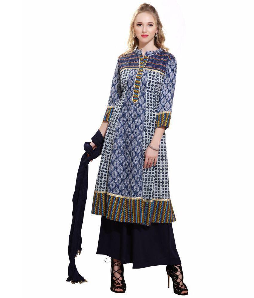 Avanya Blue Cotton Anarkali Stitched Suit