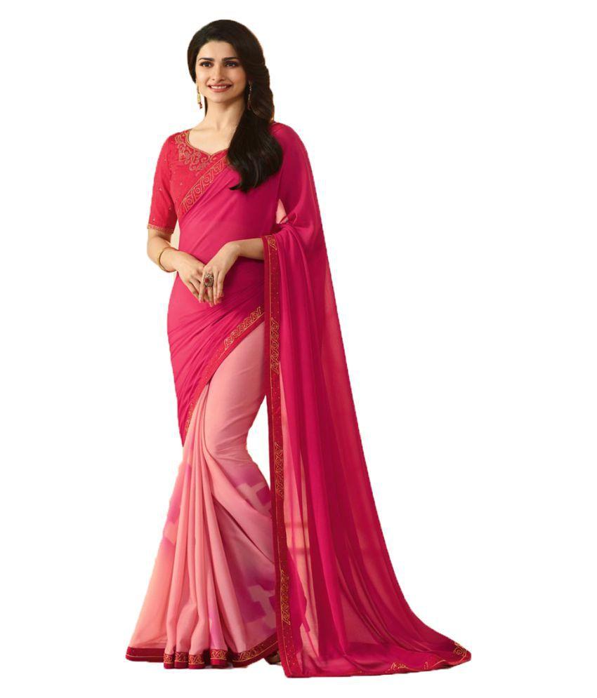 Kalapy Fashion Pink Georgette Saree