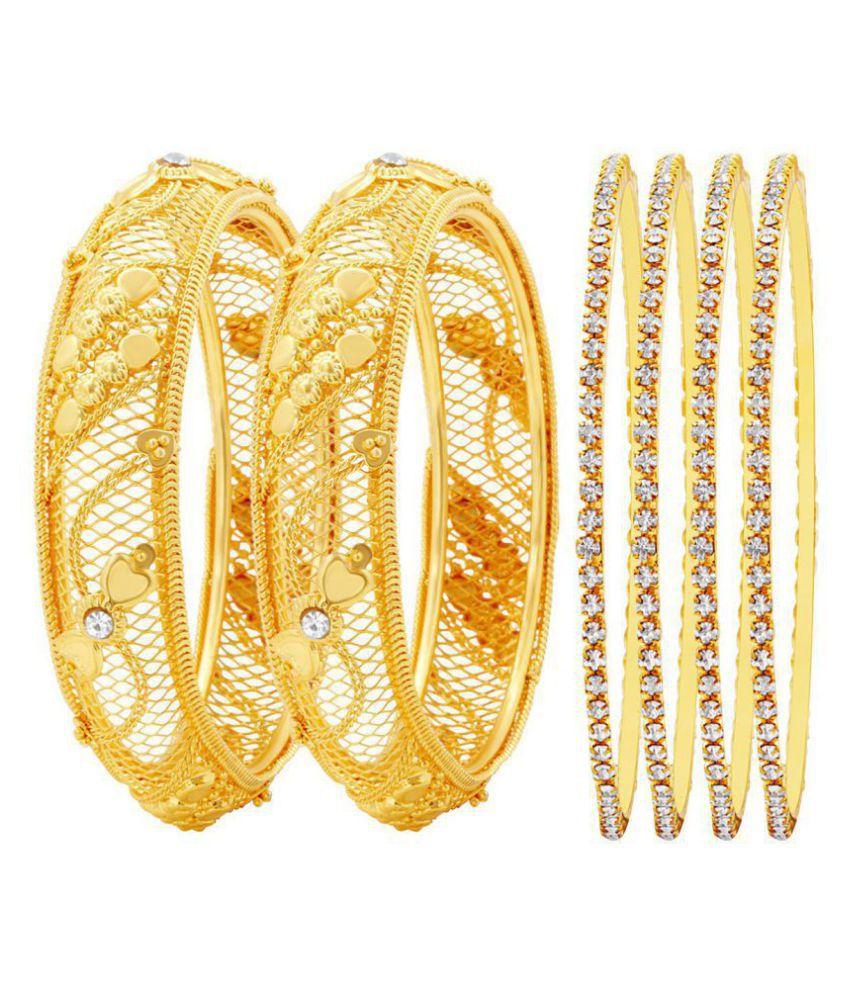 MFJ Fashion Jewellery Gold Plated Fashionable Bangle For Women (Set of 4)