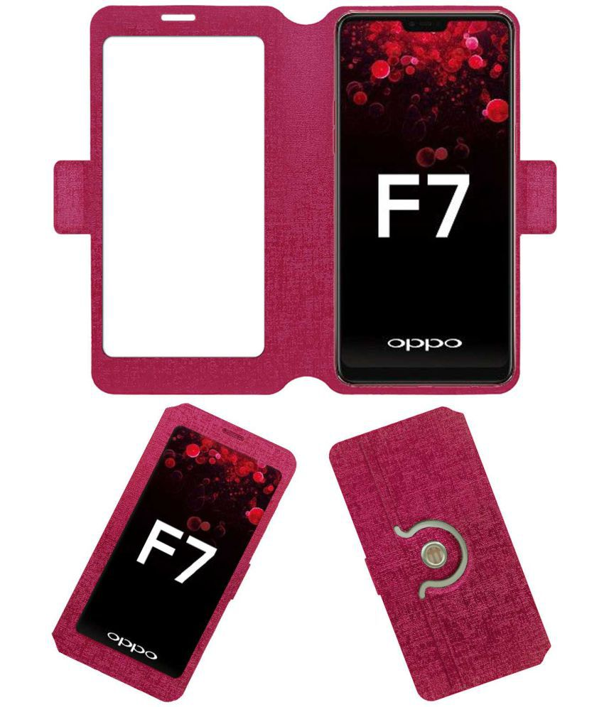 Oppo F7 Flip Cover by ACM - Pink