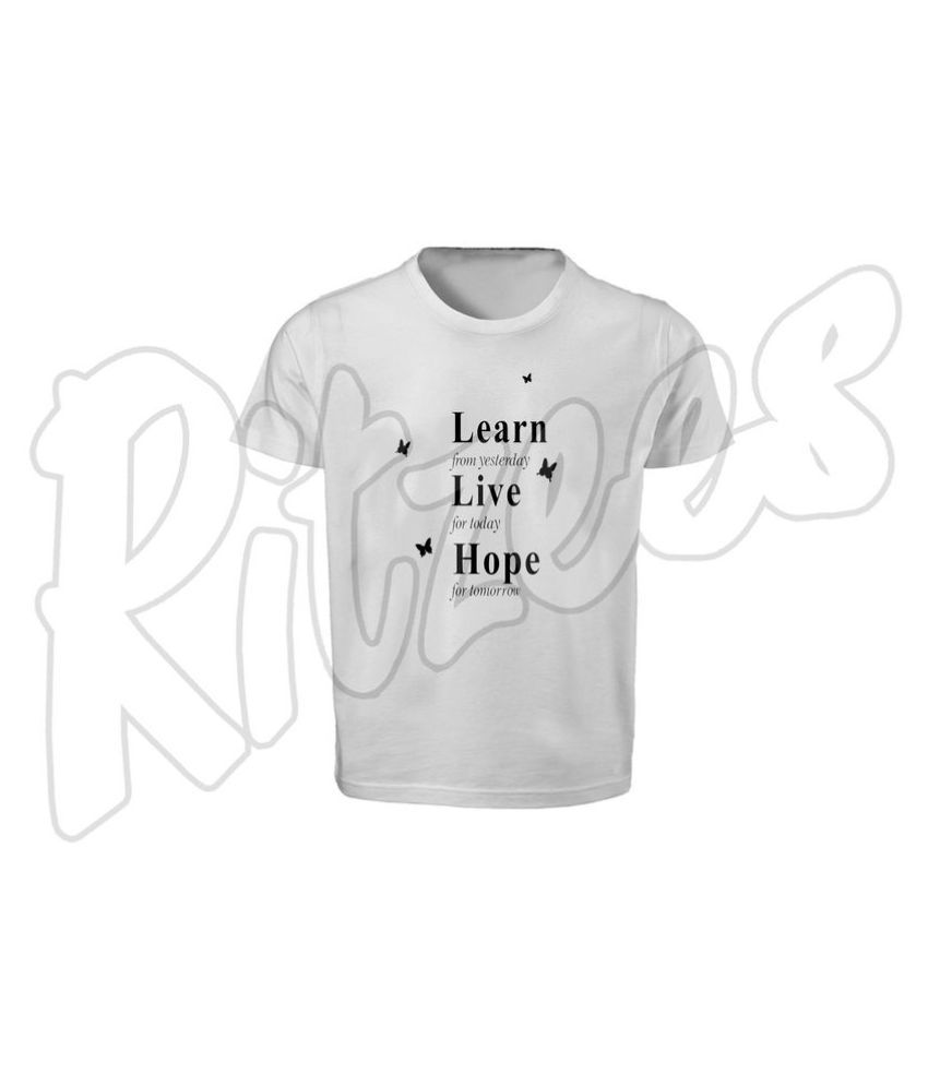 RITZEES White Dry Fit Polyester T-Shirt On Learn-Live-Hope