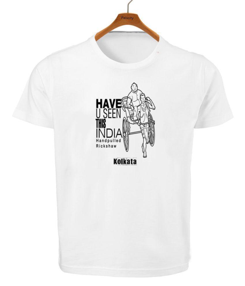 RITZEES White Dry Fit Polyester Tshirt on Handpulled Rickshaw