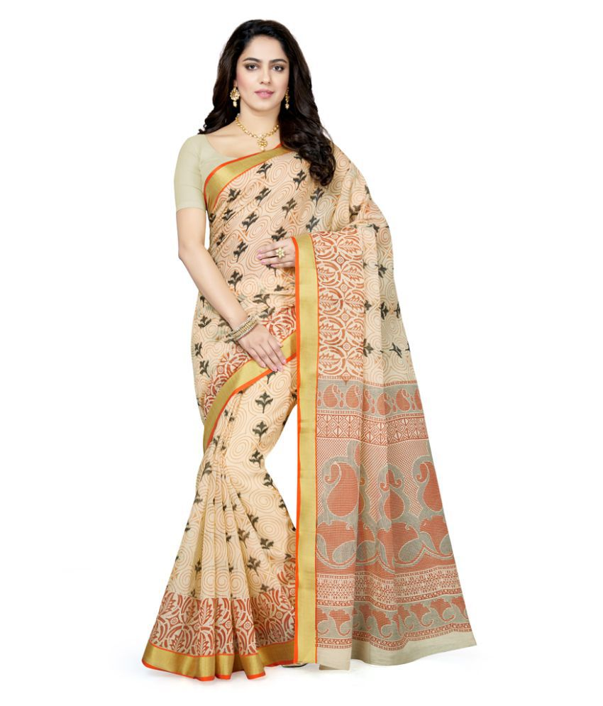 Saree Swarg Beige Cotton Blend Saree