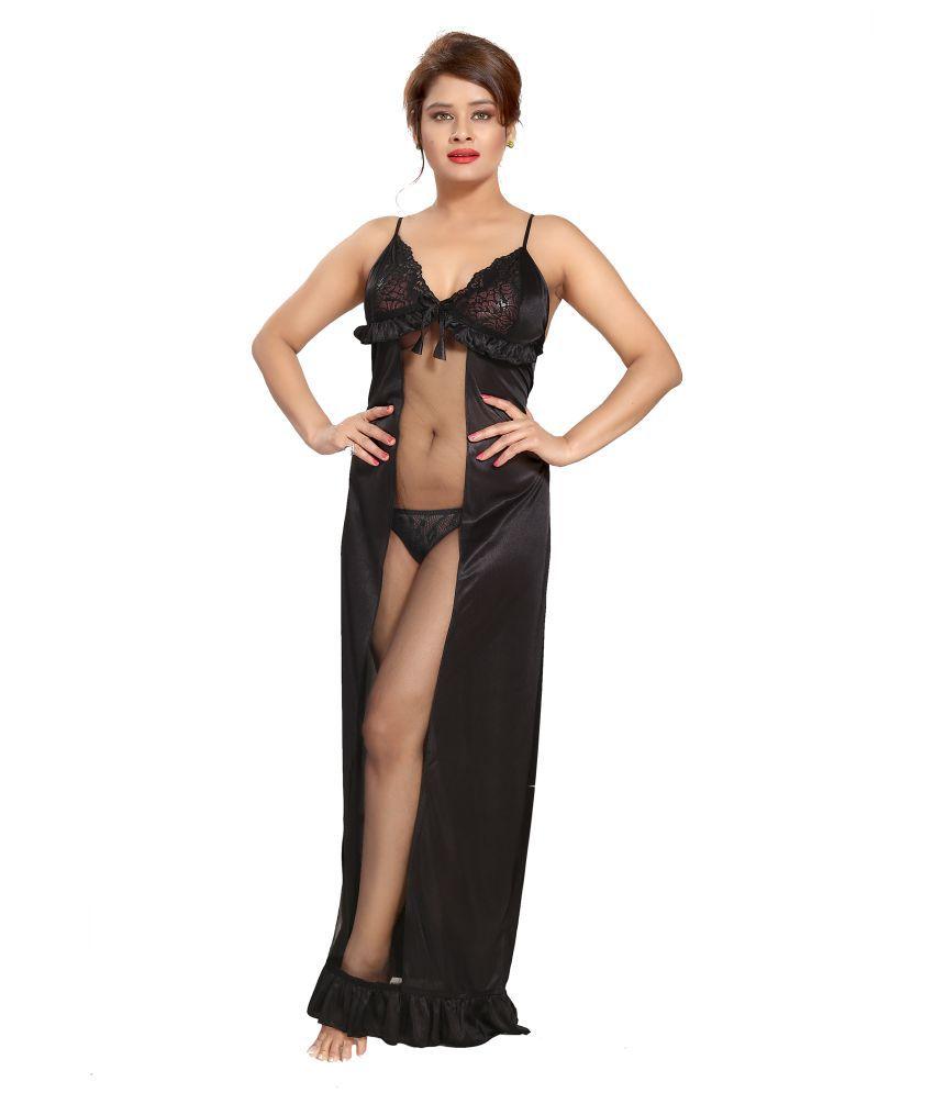 Shopping Station Satin Nighty & Night Gowns - Black