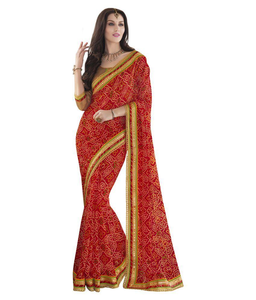 Urban India Red and Orange georgette Saree