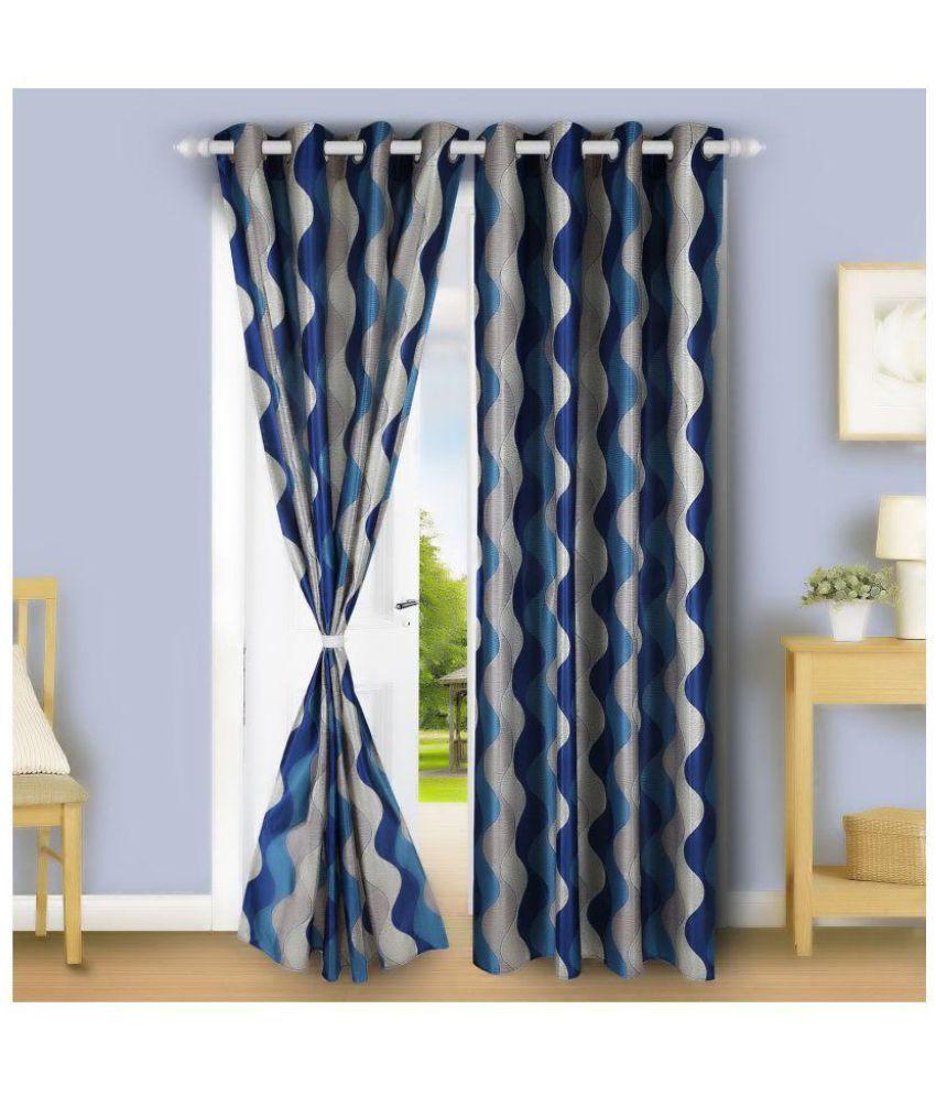 gDecor Set of 2 Long Door Eyelet Curtains Floral Blue
