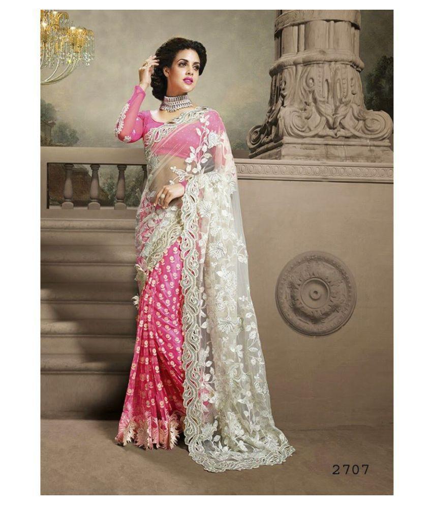 76d45e6992 SareeShop Designer SareeS Pink and Grey Net Saree - Buy SareeShop ...